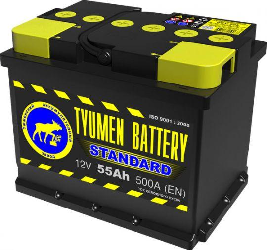 Автомобильный аккумулятор АКБ Тюмень (TYUMEN BATTERY) STANDARD 6СТ-55L 55Aч О.П.