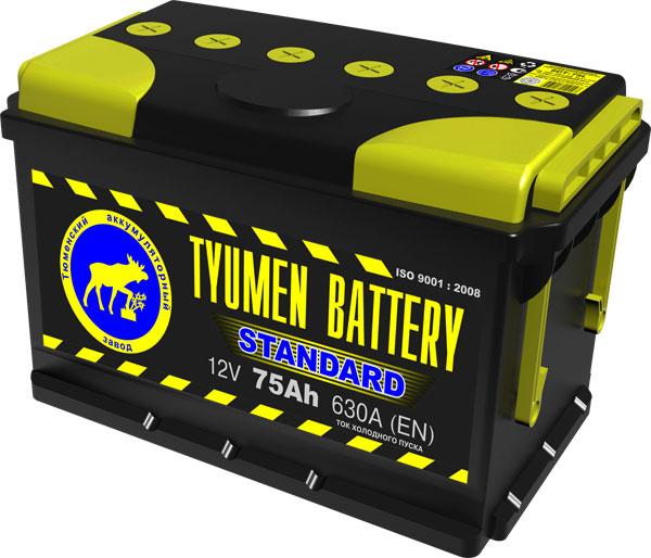 Автомобильный аккумулятор АКБ Тюмень (TUMEN BATTERY) STANDARD 6CT-75L 75Aч О.П.