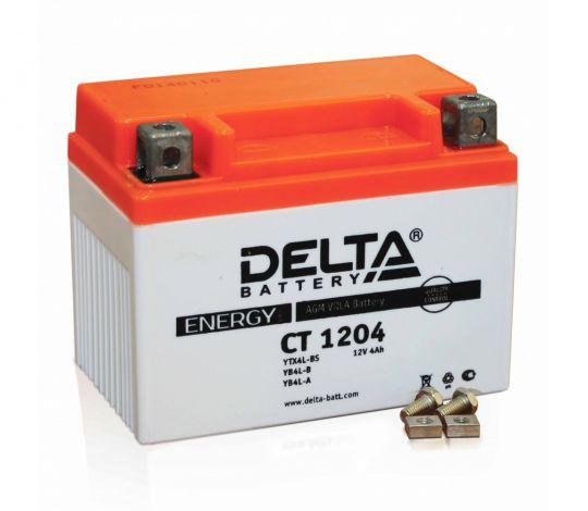 Мото аккумулятор АКБ Delta (Дельта) CT 1204 о.п. YB4L-B, YT4L-BS