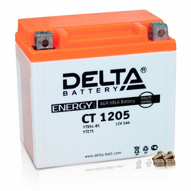 Мото аккумулятор АКБ Delta (Дельта) CT 1205 о.п. YTX5L-BS, YTZ7S, YT5L-BS