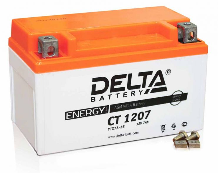 Мото аккумулятор Delta (Дельта) CT 1207 п.п. YTX7A-BS