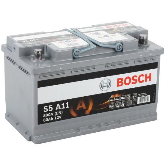 Автомобильный аккумулятор АКБ BOSCH (БОШ) S5 A11 / 580 901 080 S5 AGM 80Ач о.п.