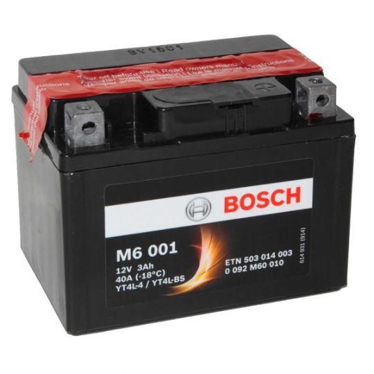 Мото аккумулятор АКБ BOSCH (БОШ) M60 010 / M6 001 moba 12V 503 014 003 A504 AGM 3Ач о.п. (YT4L-4, YT4L-BS)