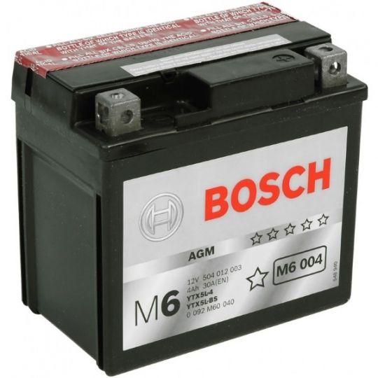 Мото аккумулятор АКБ BOSCH (БОШ) M60 040 / M6 004 moba 12V 504 012 003 A504 AGM 4Ач о.п. (YTX5L-4, YTX5L-BS)