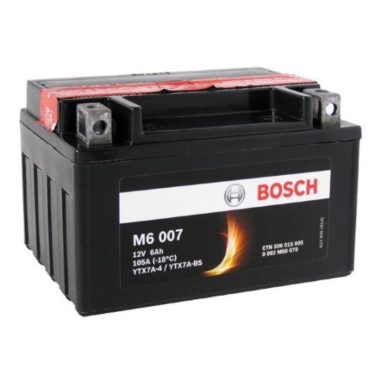 Мото аккумулятор АКБ BOSCH (БОШ) M60 070 / M6 007 moba  12V 506 015 005 A504 AGM 6Ач п.п. (YTX7A-4, YTX7A-BS)