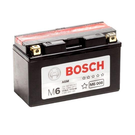 Мото аккумулятор АКБ BOSCH (БОШ) M60 080 / M6 008 moba 12V 507 901 012 A504 AGM 7Ач п.п. (YT7B-4, YT7B-BS)