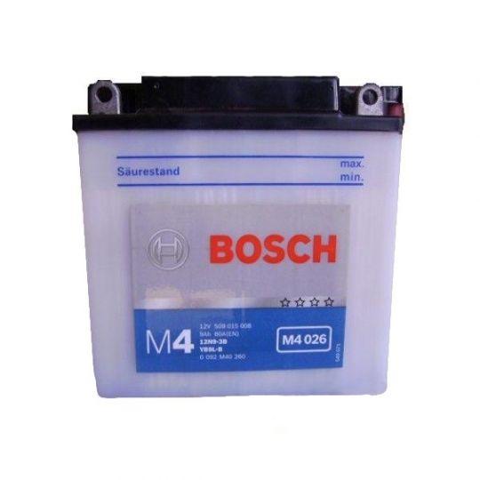 Мото аккумулятор АКБ BOSCH (БОШ) M4F 260 / M4 F26 moba 12V 509 015 008 A504 FP 9Ач о.п. (12N9-3B, YB9L-B)