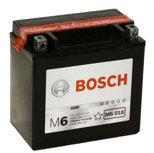 Мото аккумулятор АКБ BOSCH (БОШ) M60 180 / M6 018 moba 12V 512 014 010 A504 AGM 12Ач п.п. (YTX14-4, YTX14-BS)