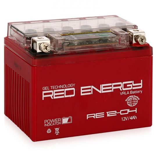 Аккумуляторная батарея АКБ RED ENERGY (РЭД ЭНЕРДЖИ) GEL RE 1204 YB4L-B, YB4L-A, YTX4L-BS 4Ач о.п.