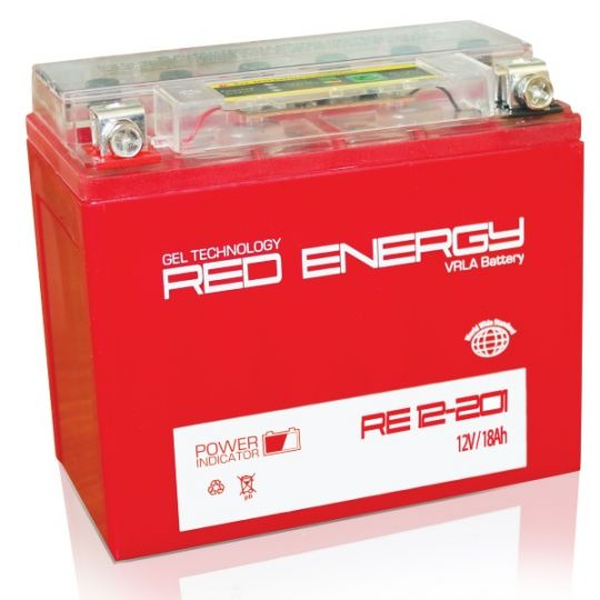 Аккумуляторная батарея АКБ RED ENERGY (РЭД ЭНЕРДЖИ) GEL RE 12201 YTX20L-BS, YTX20HL-BS, YB16L-B, YB18L-A 20Ач о.п.