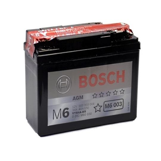 Мото аккумулятор АКБ BOSCH (БОШ) M60 030 / M6 003 moba 12V 503 903 004 A504 AGM 3Ач (YTR4A-BS)