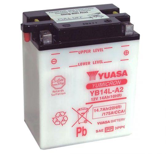 Мото аккумулятор АКБ YUASA (Юаса) YB14L-A2 14Ач о.п.