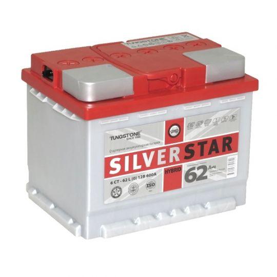 Автомобильный аккумулятор АКБ SilverStar Hybrid (Сильвер Стар Гибрид) 6СТ-62 L 62Ач п.п.
