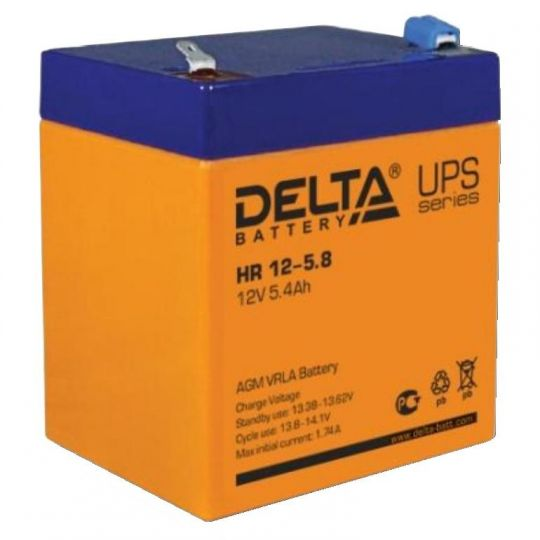 Аккумулятор свинцово-кислотный АКБ DELTA (Дельта) HR 12-5.8 12 Вольт 5.4 Ач