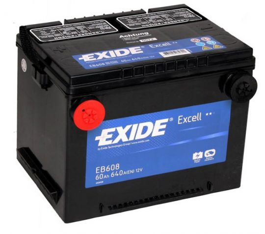 Автомобильный аккумулятор АКБ Exide (Эксайд) Excell EB608 60Ач п.п. амер. клеммы