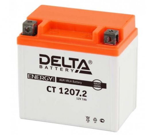 Мото аккумулятор АКБ Delta (Дельта) CT 1207.2 о.п. YTX7L-BS