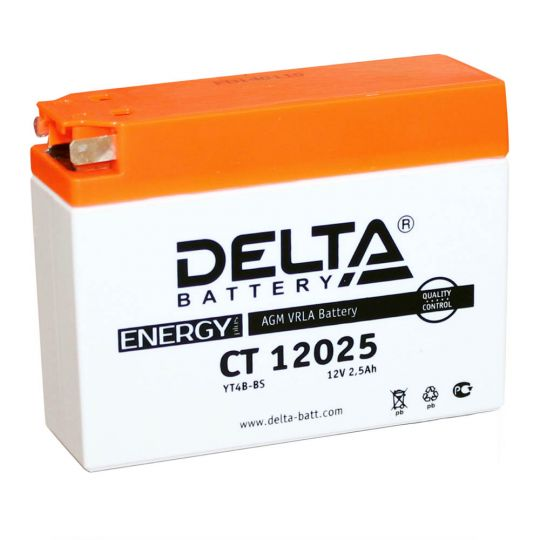 Мото аккумулятор АКБ Delta (Дельта) CT 12025 боковые клеммы YTX4B-BS