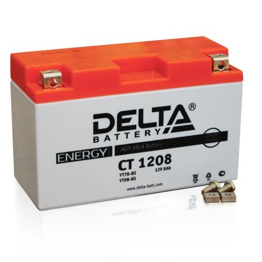 Мото аккумулятор АКБ Delta (Дельта) CT 1208 п.п. YT7B-BS, YT9B-BS