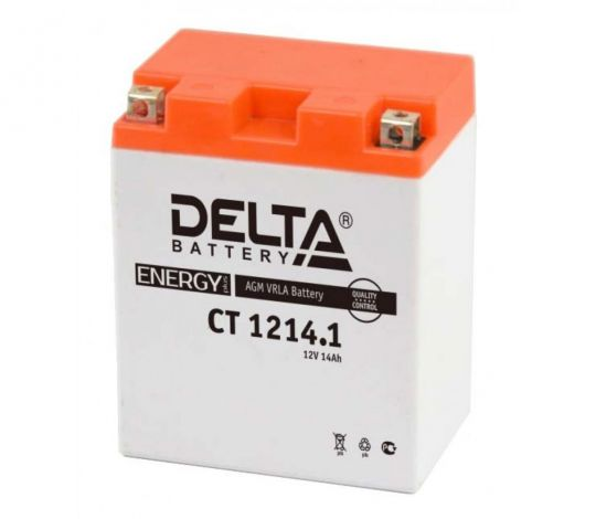 Мото аккумулятор АКБ Delta (Дельта) CT 1214.1 п.п. YB14-BS, YTX14H, YTX14H-BS