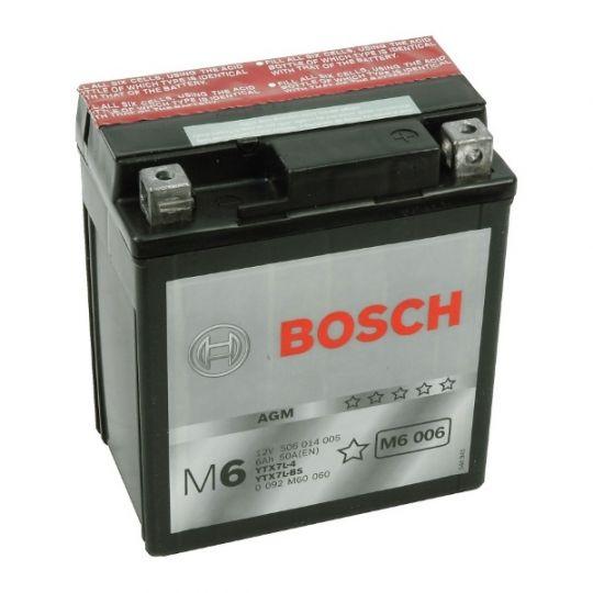 Мото аккумулятор АКБ BOSCH (БОШ) M60 060 / M6 006 moba 12V 506 014 005 A504 AGM 6Ач о.п. (YTX7L-4, YTX7L-BS)