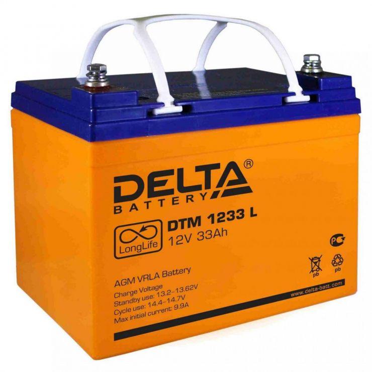 Аккумулятор свинцово-кислотный АКБ DELTA (Дельта) DTM 1233 L 12 Вольт 33 Ач