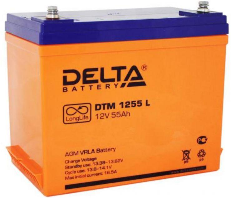 Аккумулятор свинцово-кислотный АКБ DELTA (Дельта) DTM 1255 L 12 Вольт 55 Ач