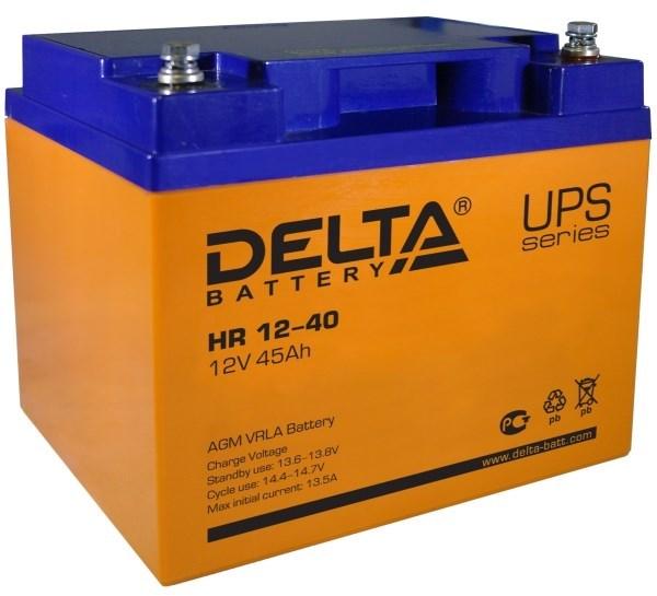 Аккумулятор свинцово-кислотный АКБ DELTA (Дельта) HR 12-40 12 Вольт 45 Ач