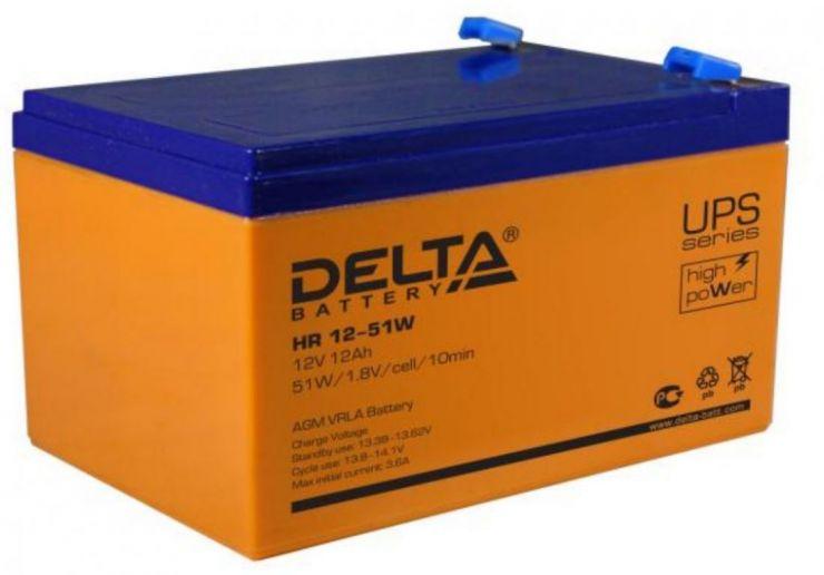 Аккумулятор свинцово-кислотный АКБ DELTA (Дельта) HR 12-51W 12 Вольт 12Ач