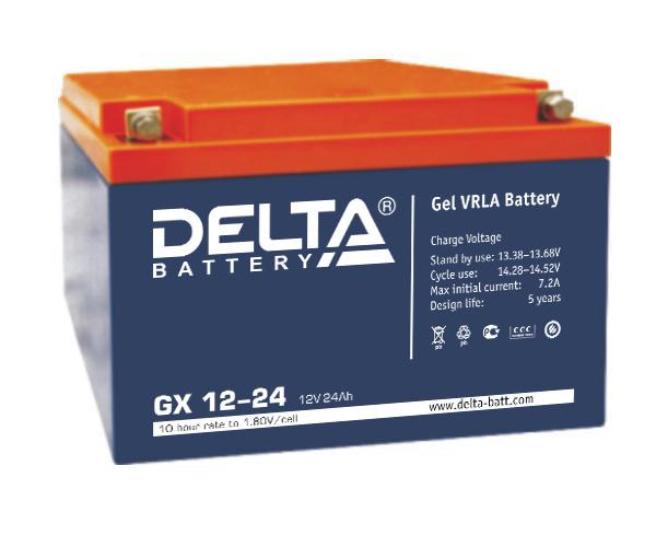 Аккумулятор свинцово-кислотный АКБ DELTA (Дельта) GX 12-24 12 Вольт 24 Ач (Gel)