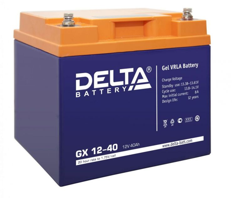 Аккумулятор свинцово-кислотный АКБ DELTA (Дельта) GX 12-40 12 Вольт 40 Ач (Gel)