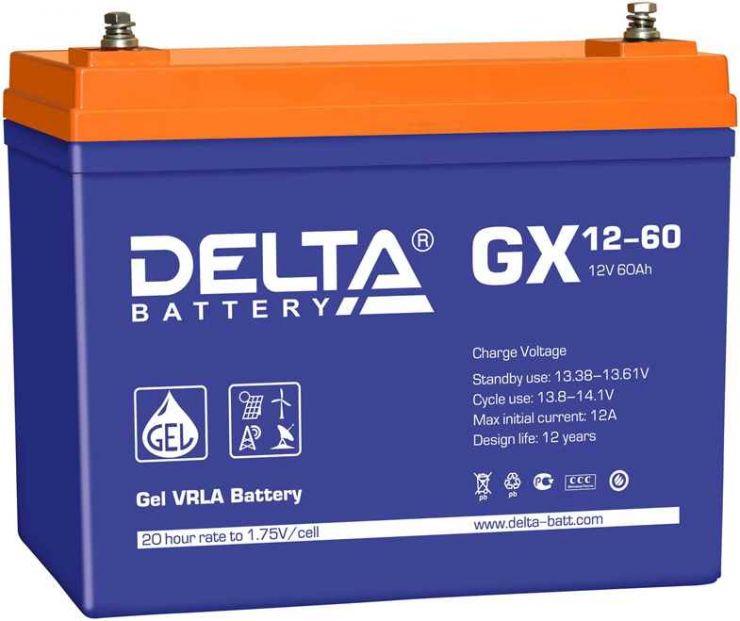 Аккумулятор свинцово-кислотный АКБ DELTA (Дельта) GX 12-60 12 Вольт 60 Ач (Gel)