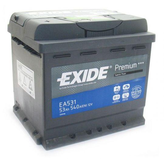 Автомобильный аккумулятор АКБ Exide (Эксайд) Premium EA531 53Ач п.п.